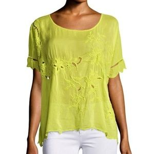 Johnny Was Embroidered Boho Yellow Top
